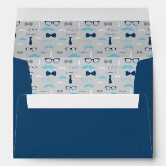 Little Man Envelope, Mustache, Baby Blue, Navy Envelope