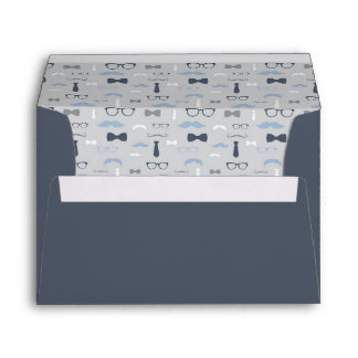 Little Man Envelope, Mustache, Navy Blue, Gray Envelope