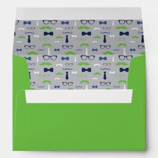 Little Man Envelope, Mustache, Navy Blue, Green Envelope