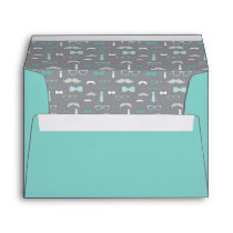 Little Man Envelope, Mustache, Teal, Aqua, Gray Envelope