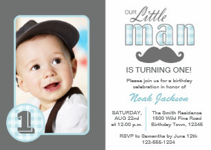 Save 60 on little man 1st birthday invitations limited time only little man first birthday mustache blue grey photo invitation filmwisefo
