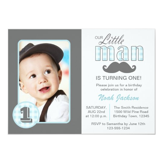 Little man first birthday mustache blue grey photo invitation little man first birthday mustache blue grey photo invitation filmwisefo