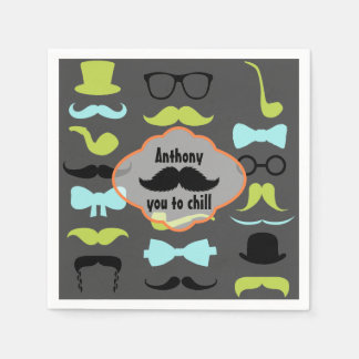 Little Man Hipster Mustache Birthday Party Napkin