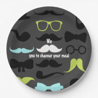 Little Man Hipster Mustache Birthday Party Paper Plate
