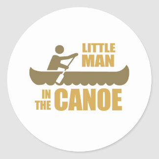 Little man in the canoe round stickers