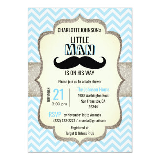 Little Man is on His Way | Mustache Baby Shower Card