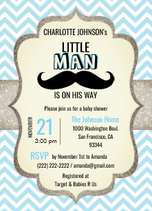 Mustache baby shower invitations zazzle little man is on his way mustache baby shower invitation filmwisefo