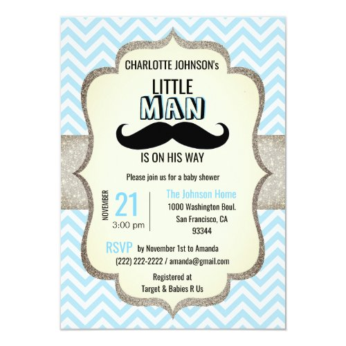 Little Man is on His Way  Mustache Baby Shower Invitation