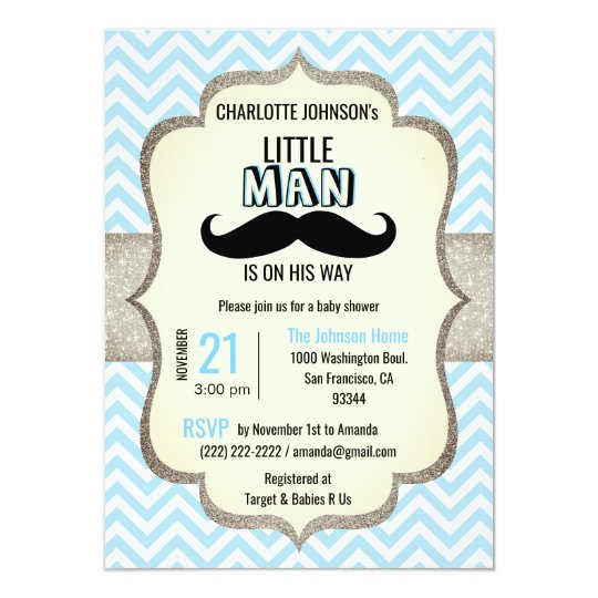 Little man is on his way mustache baby shower invitation zazzle little man is on his way mustache baby shower invitation filmwisefo