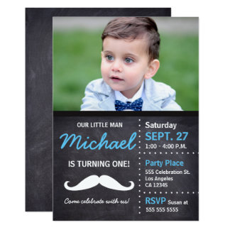 Little Man is turning 1 - photo, mustache, chalk Card