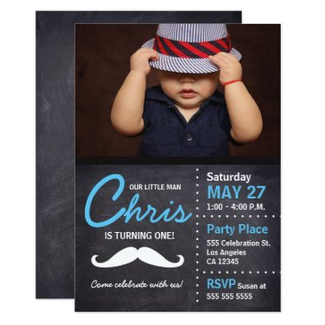 lorena_depante Little Man is turning one - photo, mustache, chalk Card