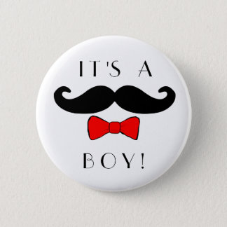 Little Man It's a Boy Mustache and Red Bowtie Button