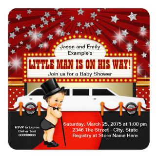 Little Man Limousine Movie Star Baby Shower 5.25x5.25 Square Paper Invitation Card
