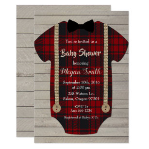 Little Man Lumberjack Boy Baby Shower Invitation