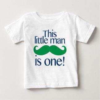 Little Man Moustache Birthday Shirt Navy & Green