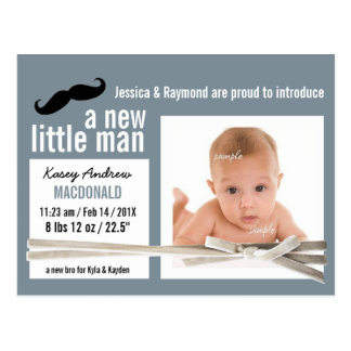Little Man Mustache and Photo New Baby Postcard