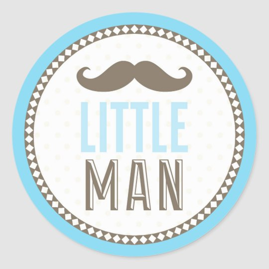 Little man mustache baby classic round sticker