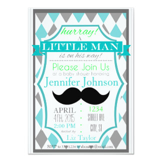 Amazing Little Man Mustache Baby Shower Invitations