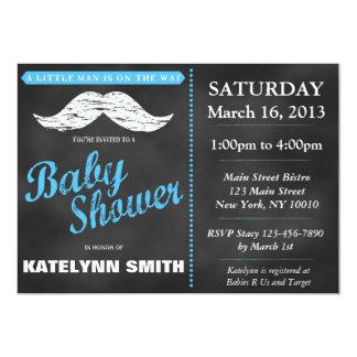 "Little Man Mustache Baby Shower Invite 5"" X 7"" Invitation Card"