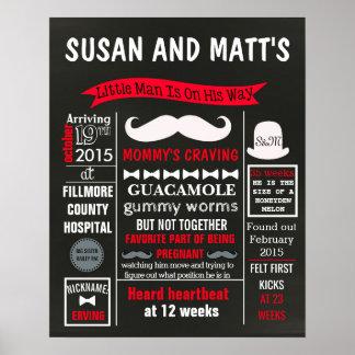 Little man Mustache Baby Shower Party chalkboard Poster