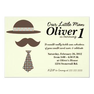 "Little Man Mustache Bash Birthday Invitation 5"" X 7"" Invitation Card"