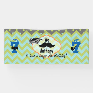 Little Man Mustache Birthday Party Any Age Banner