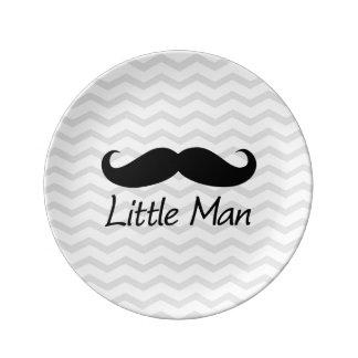 Little Man Mustache Chevron Cute Boys Porcelain Plates