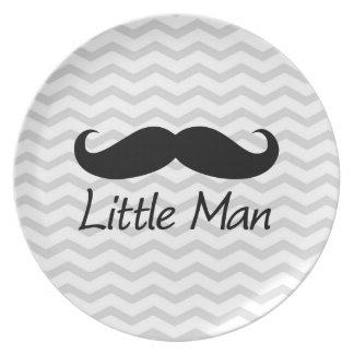 Little Man Mustache Chevron Cute Boys Plate