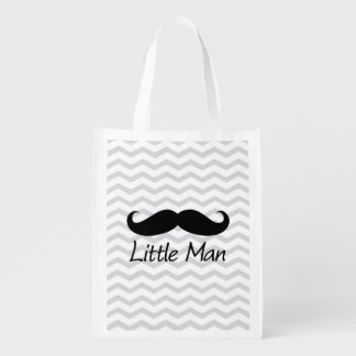 Little Man Mustache Chevron Cute Boys Reusable Grocery Bag