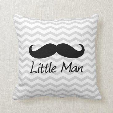 Little Man Mustache Chevron Cute Boys Throw Pillow