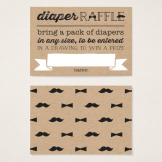 Little Man Mustache Cute Diaper Raffle Ticket Card