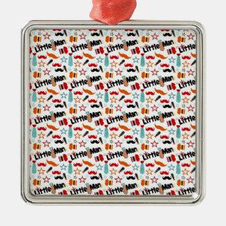 Little Man Mustache Pattern Square Metal Christmas Ornament