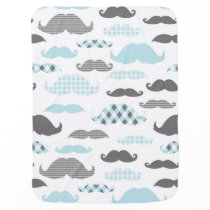 Little Man Mustaches Pattern Blue Grey Swaddle Blanket