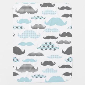 Little Man Mustaches Pattern Blue Grey Swaddle Blanket