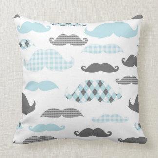 Little Man Mustaches Pattern Blue Grey Throw Pillow