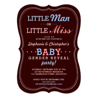 Little Man or Little Miss Baby Gender Reveal Party 5x7 Paper Invitation Card