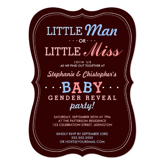 30th Street Residence: Little Man Or Little Miss Baby Gender Reveal Party Card