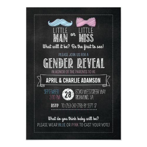 Little Man or Little Miss? Gender Reveal Invitation