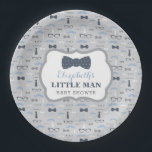 """Little Man Paper Plate, Navy, Gray Paper Plate<br><div class=""""desc"""">Have your guests eat with style on this classic little man themed plate! Available in many colors and patterns.  Text can be customized for a birthday party.</div>"""