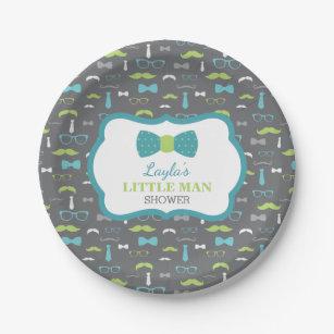 Little Man Paper Plate Teal Lime Gray Paper Plate  sc 1 st  Zazzle & Little Man Plates | Zazzle