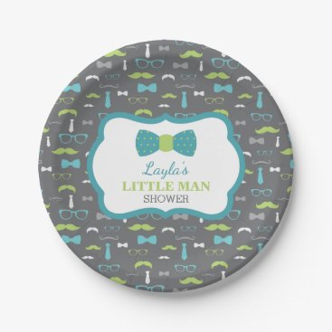 Toddler & Baby themed Little Man Paper Plate, Teal, Lime, Gray Paper Plate