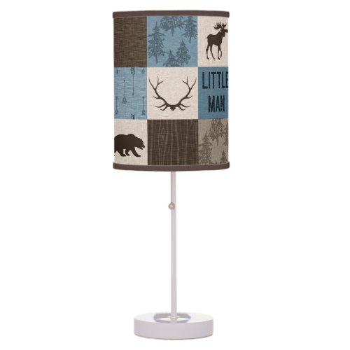 Little Man Patchwork Lamp - Blue and Brown