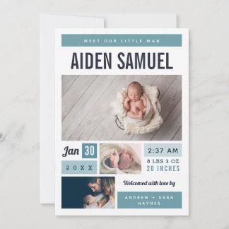Little Man Photo Collage Birth Announcement