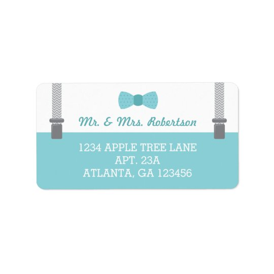 Little Man Return Address Label, Aqua and Gray Label