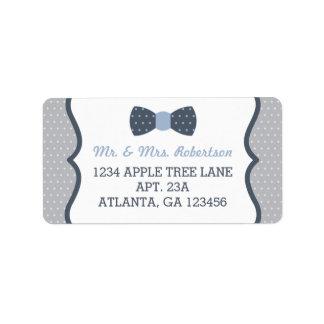 Little Man Return Address Label, Blue and Gray Label