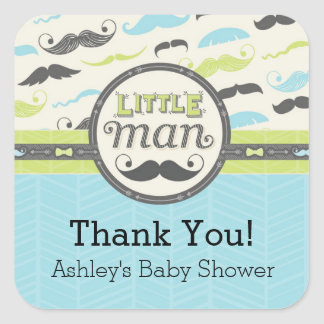 Little Man Square Baby Shower Stickers