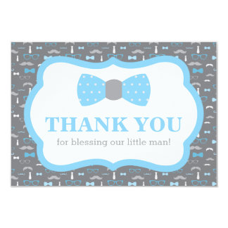 Little Man Thank You Card, Baby Blue and Gray Card