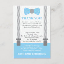 Little Man Thank You Card, Baby Blue, Gray
