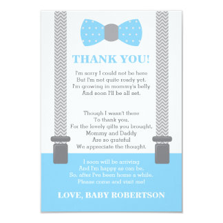 Little Man Thank You Card, Baby Blue, Gray Invitation