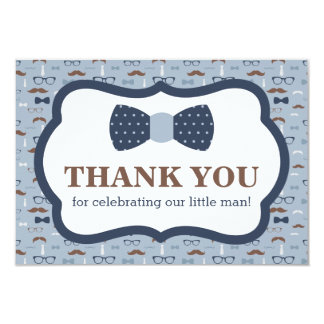 Little Man Thank You Card, Bow Tie, Blue, Brown Card